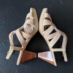 NWOT Stuart Weitzman Cream Suede Strappy Heels